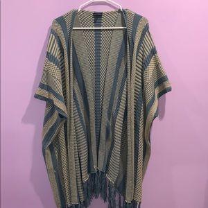 Coco + Carmen Blue knit open faced poncho